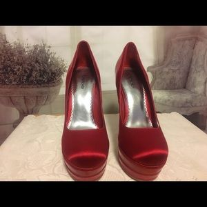 Bebe Red Satin & Patent Leather Platform Pumps 10